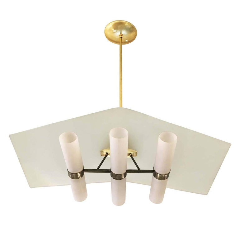 "Brass and Glass ""Casa"" Chandelier by Stilnovo, Italy, 1960s 4"