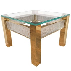 Pair of Square Brass Side Tables