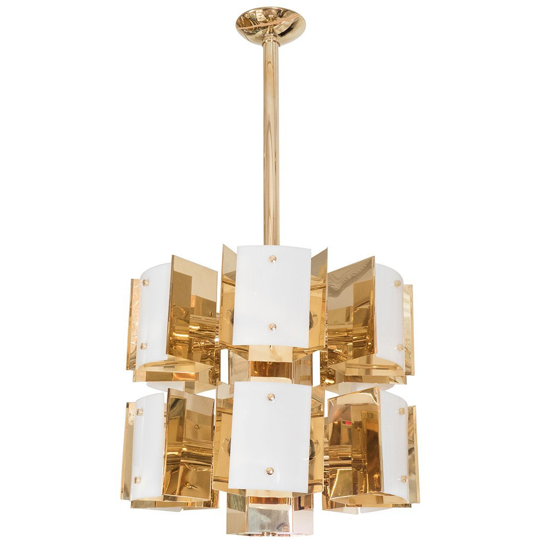 Cylindrical Two-Tiered Brass Chandelier