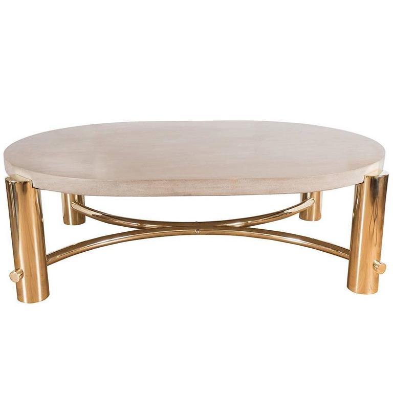 elliptical coffee table with stone top at 1stdibs. Black Bedroom Furniture Sets. Home Design Ideas