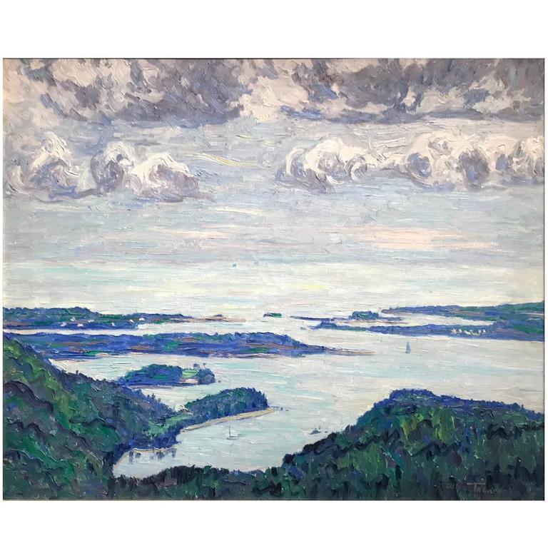Allen Tucker Coastal Landscape Oil Painting, \u201cMount Desert