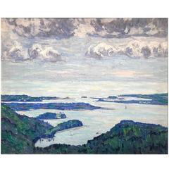 "Allen Tucker Coastal Landscape Oil Painting, ""Mount Desert Island Maine, 1914"""