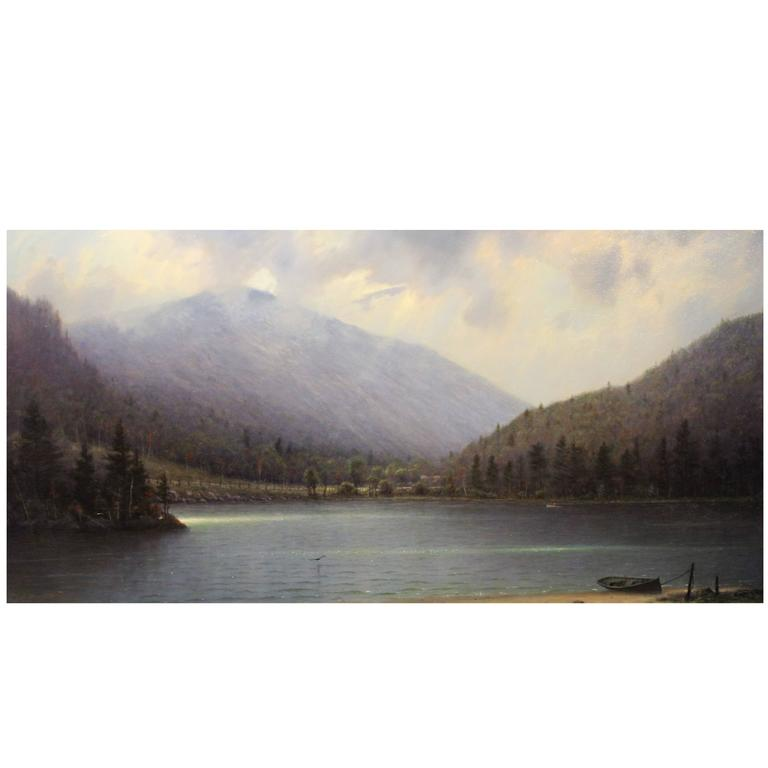 William R. Davis Oil Painting Clearing Storm, Echo Lake, Franconia, NH For Sale