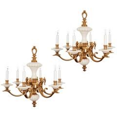 Pair of Ceramic and Gilt Brass Chandeliers