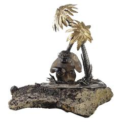Sterling Silver and Carved Smoky Quartz Ape Sculpture by Gianmaria Buccellati