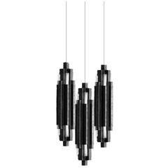 Art Deco Brutalist Cascading Pendant in Steel or Brass Darko XL Pendant