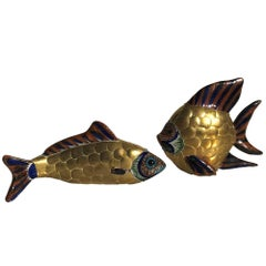 Pair of Brass and Ceramic Fish Sculptures Attributed to Sergio Bustamante