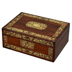 Regency Brass Inlaid Rosewood jewelry Box with Relined Interior