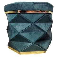 "Aqua Blue Cowhide Ottoman Collection ""Himalaya"" Brass Frames"
