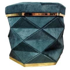 "Aqua Blue Cowhide Ottoman Collection ""Himalaya"" Brass Frames"