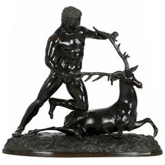Substantial Bronze Sculpture Group of Hercules and Stag by Chiurazzi Foundry