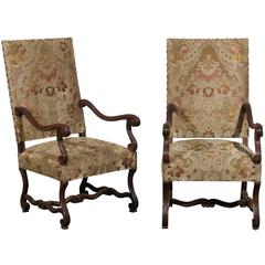 Pair of 19th Century French Walnut High Back Chairs