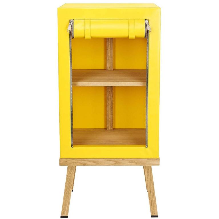 Visser and Meijwaard Truecolors Side Cabinet in Yellow PVC Cloth with Zipper For Sale