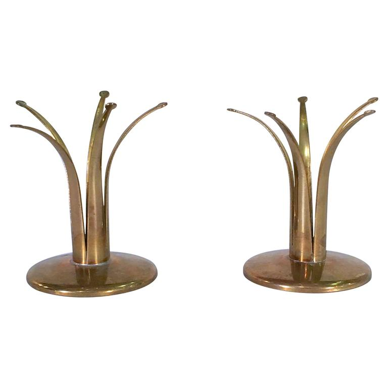 Pair of Brass Candlestick Holders by Ivar Ålenius Björk for Ystad Metal, Sweden