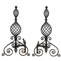 Early 20th Century Swirled Hand-Wrought Iron Andirons