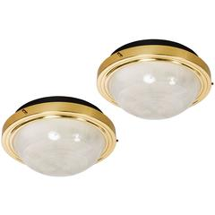 1960s Sergio Mazza Brass and Glass Wall or Ceiling Lights for Artemide