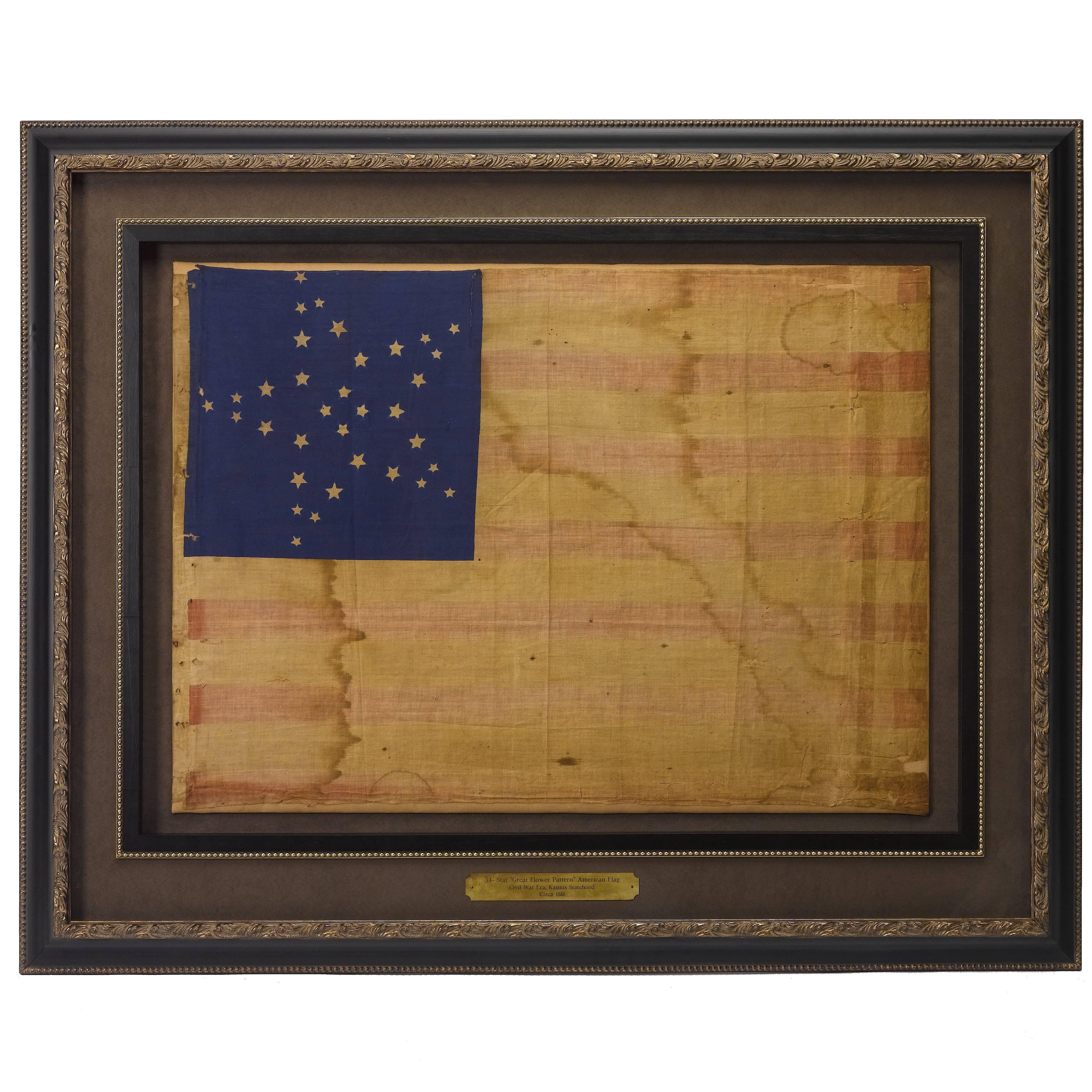 34-Star Civil War American Flag, Antique Great Star Pattern, circa 1861