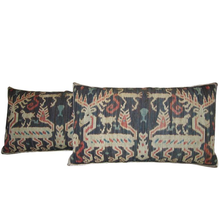 One Antique Ikat Tapestry Pillows, circa 1850 1671p For Sale