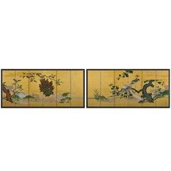Japanese Screen Pair, Circa 1700-1750, Phoenix and Peacocks, Kano School