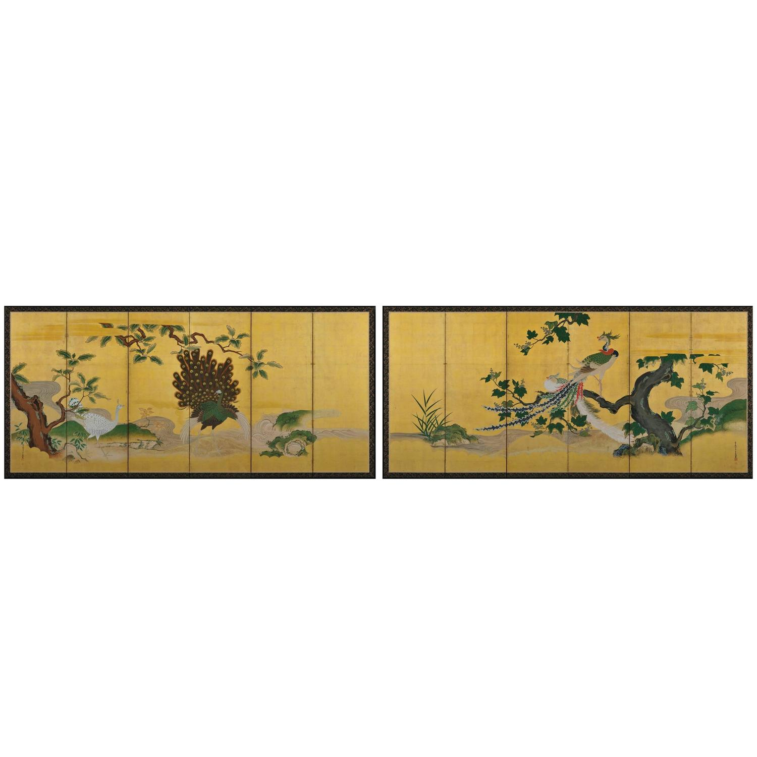 Antique japanese screens for sale - Tsunetake Yotei 18th Century Japanese Folding Screen Pair