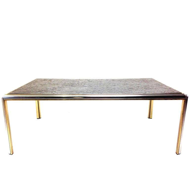 Mid Century Slate And Chrome Coffee Table For Sale At 1stdibs