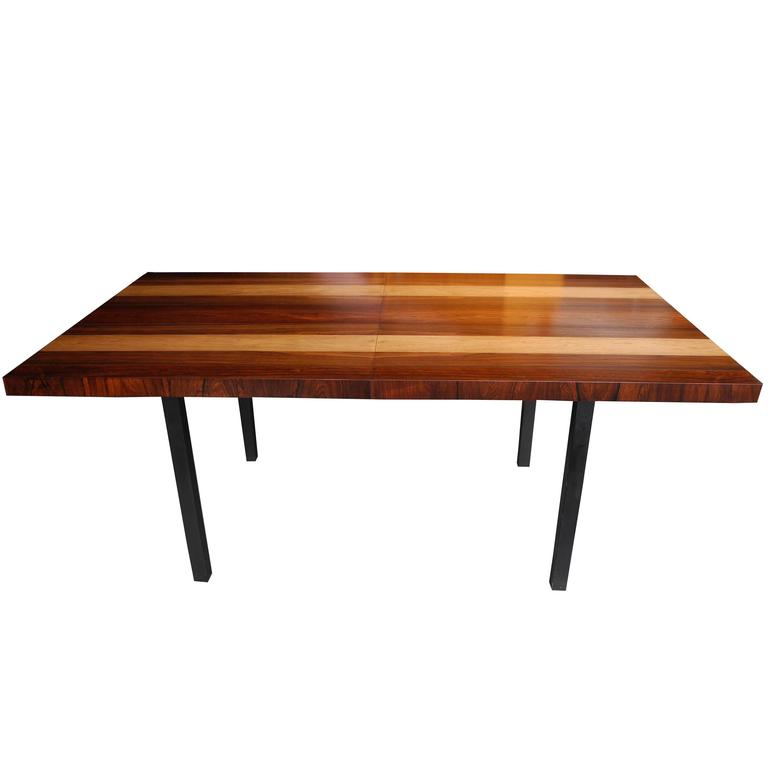 Striped Wood Dining Table by Milo Baughman for Directional with Two Leaves