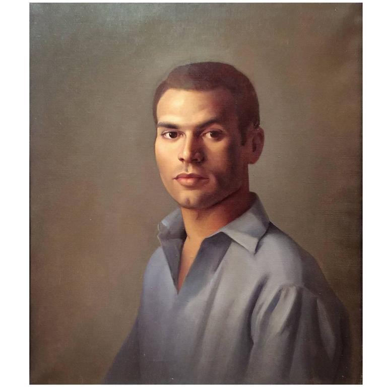Luigi Lucioni Oil Painting Portrait of a Young Man 1