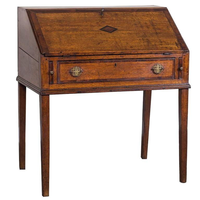 English George Iii Period Oak Slant Front Desk Circa 1760