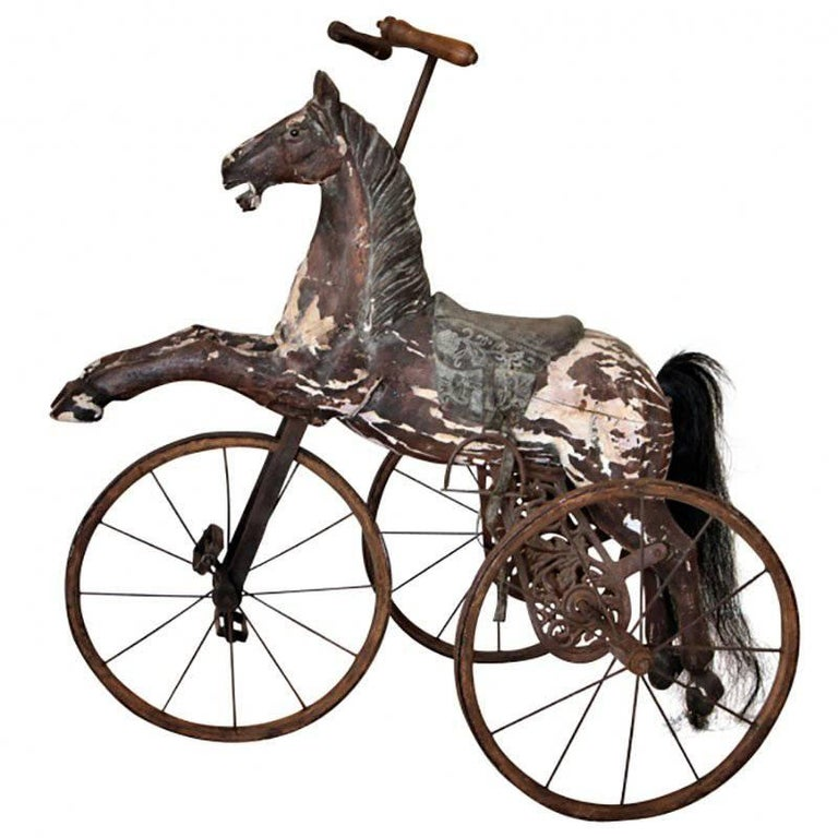 19th Century Antique Folk Art Horse Form Tricycle For Sale