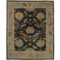 Turkish Oushak Rug with Black Field and Modern Style