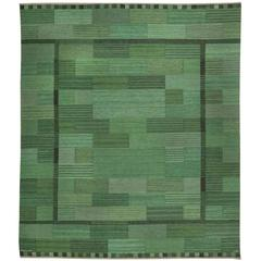 Swedish Flat-Weave Rug by Marianne Richter 'Fasad Gron'