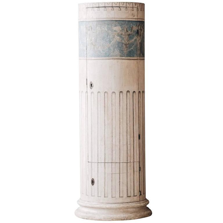 Swedish 19th Century Late Gustavian Column Pedestal Cabinet