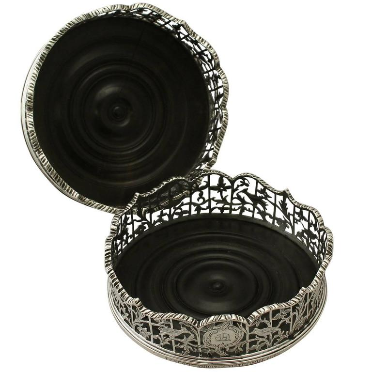 Antique Victorian Pair of Sterling Silver Coasters