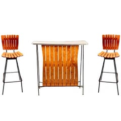 Arthur Umanoff Bar and Pair of Matching Stools