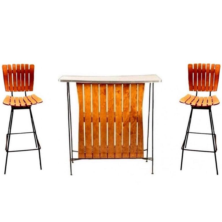 Arthur Umanoff Bar and Pair of Matching Stools