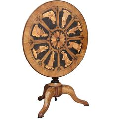 19th Century Italian Sorrento Marquetry Tilt-Top Table
