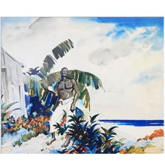 """Gathering Storm, Dominican Republic,"" Large, Color-Saturated Painting, 1930s"