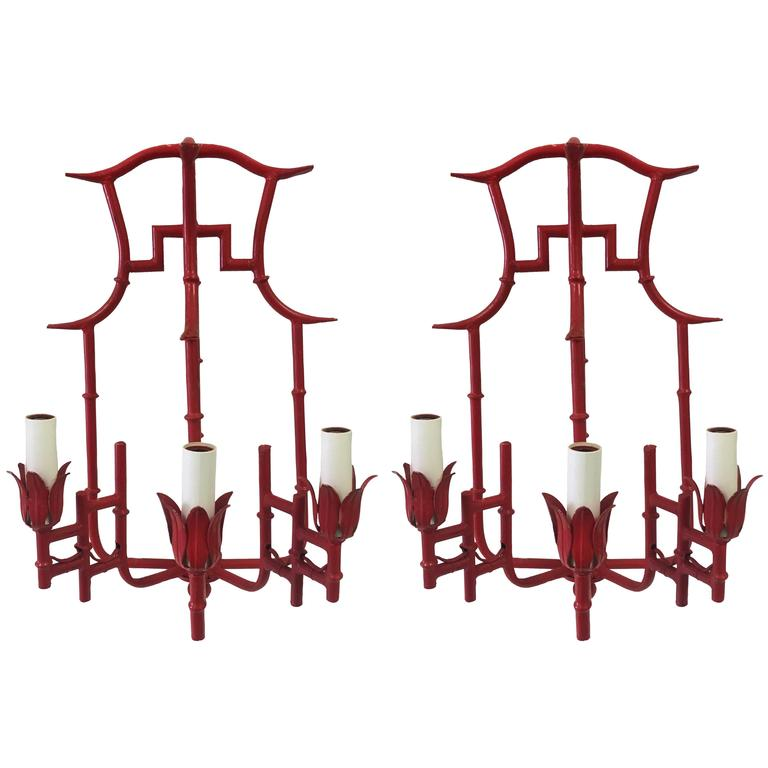 Pair of Red Chinoiserie Bamboo Style Sconces 1