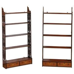 Pair of Antique English Hanging Wall Shelves