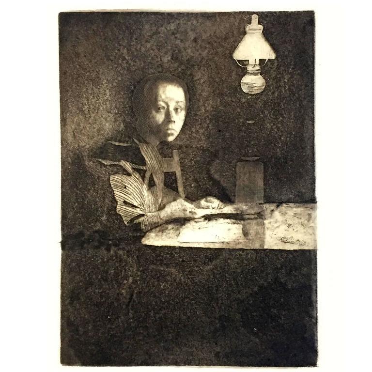 Kathe Kollwitz Self Portrait At The Table Engraving 1893