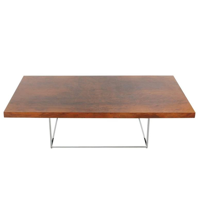 Milo Baughman Mid-Century Modern Burl Wood Cocktail Table for Thayer Coggin For Sale