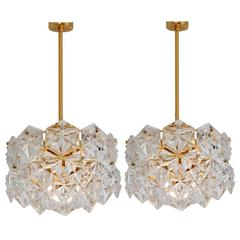 Pair of Stunning Faceted Crystal and Gilt Metal Three-Tier Chandelier, Kinkeldey