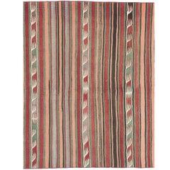Striped Midcentury Nomadic Kilim Rug
