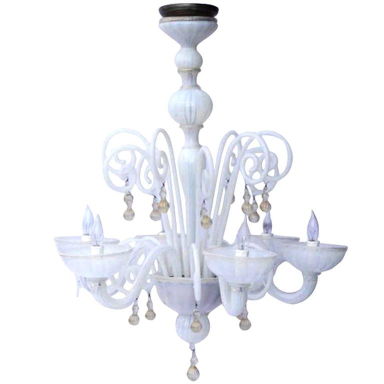 Handblown Six-Arm Murano Glass Chandelier, circa 1950-1970