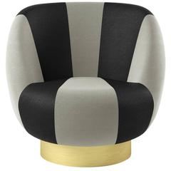 Black and White Swivel Armchair