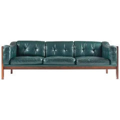 "Scandinavian Rosewood and Green Leather Sofa ""Monte Carlo"", 1965"