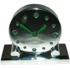 Extremely Rare 1930s Art Deco Modernist Miniature Chrome Clock