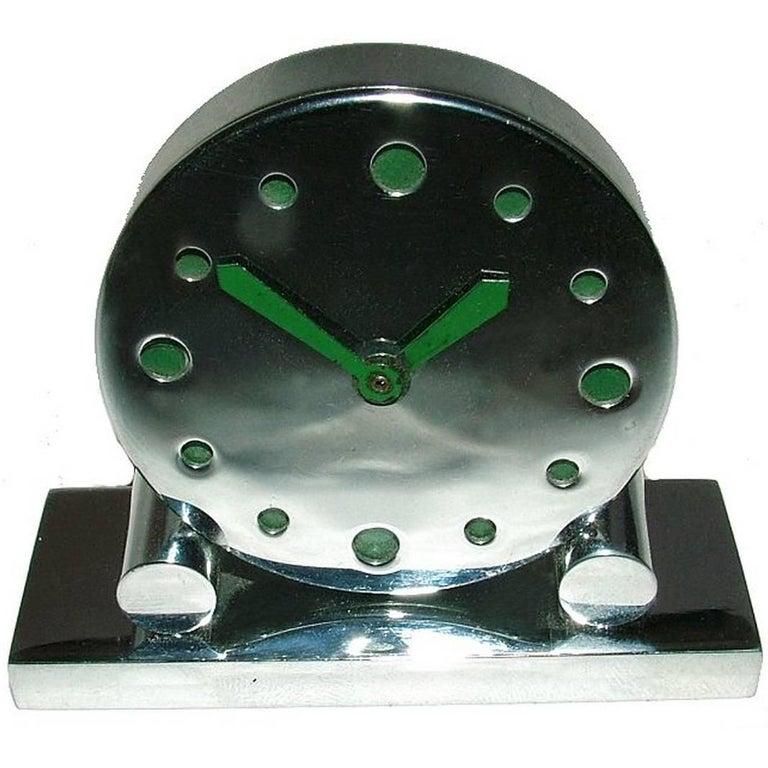 Extremely Rare 1930s Art Deco Modernist Miniature Chrome Clock For Sale