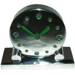 Extremely Rare 1930s Art Deco Modernist Miniature Chrome Clock