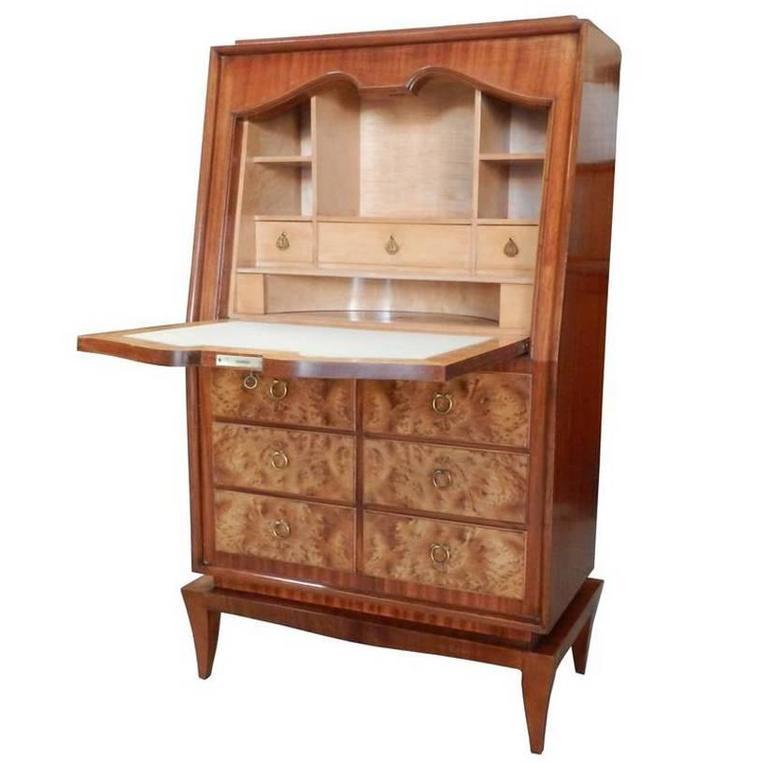 Rene Drouet Attributed, Art Deco Mahogany and Thuya Burr Cabinet
